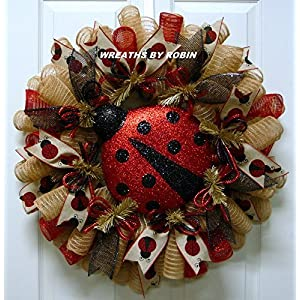 Lady Bug Wreath, Summer Wreath, Red Natural Wreaths (3521) 111