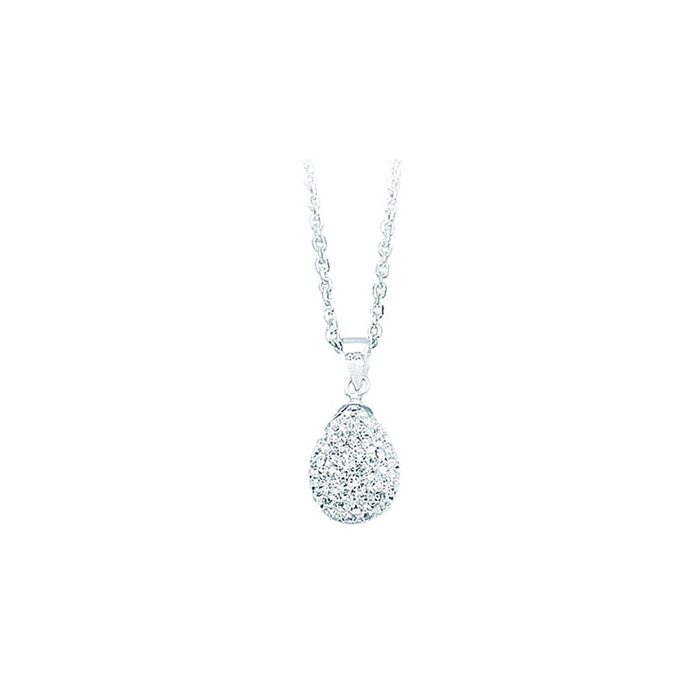 Ss Crystal Tear Drop Pendant Neck//Whit DiamondJewelryNY Silver Pendant