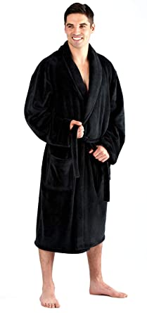 Luxury Mens Gents Full Length Velour Fleece Robe Dressing Gown