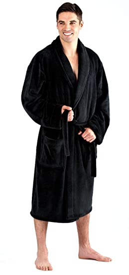 Luxury Mens Gents Full Length Velour Fleece Robe Dressing Gown  Amazon.co.uk   Clothing 55e885551