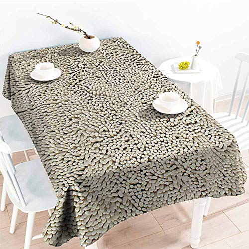 Crushed Chenille - Willsd Large Rectangular Tablecloth,Eurow Microfiber Non Slip Chenille Light Beige,Table Cover for Kitchen Dinning Tabletop Decoratio,W60X102L