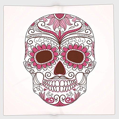 Polyester Bandana Headband Scarves Headwrap,Sugar Skull Decor,Mexican Ornaments Calavera Catrina Inspired Folk Art Macabre Decorative,Pink Light Pink White,for Women Men -
