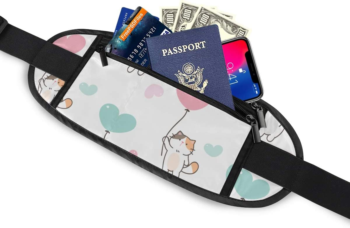 Travel Waist Pack,travel Pocket With Adjustable Belt Pattern Cute Cartoon Cat Balloon Running Lumbar Pack For Travel Outdoor Sports Walking
