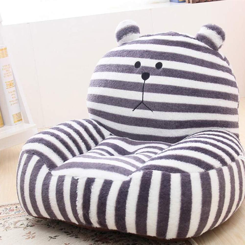 TOYSOFA Kid Plush Bean Bag Chair, Strip Cartoon Plush Stuffed Kid Sofa seat Children's Furniture upholstered Child Couch for boy Girl Grey 5513cm(21.65.1in)