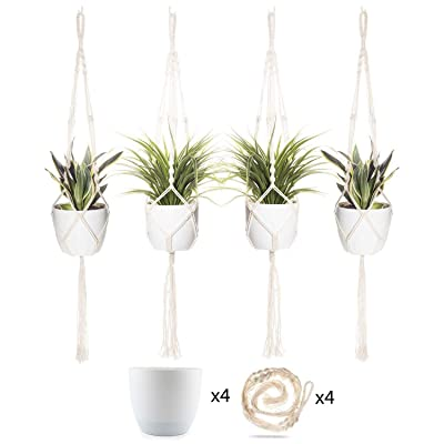 T4U 6 Inch Plastic Self Watering Pots with Macrame Plant Hangers, Set of 4 with 4 Ceiling Hooks Included, for All House Plants, Flowers, Herbs, Foliage Plants, African Violets: Garden & Outdoor