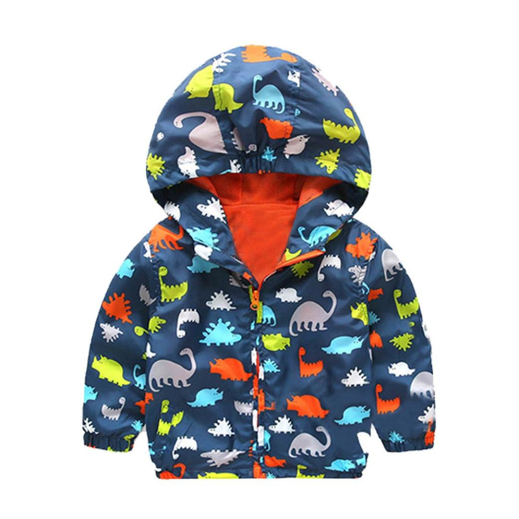 Kehen Toddler Baby Winter Dinosaur Printing Zipper Long Sleeve Hoodie Jacket Trench Coat (2T, Navy) by Kehen