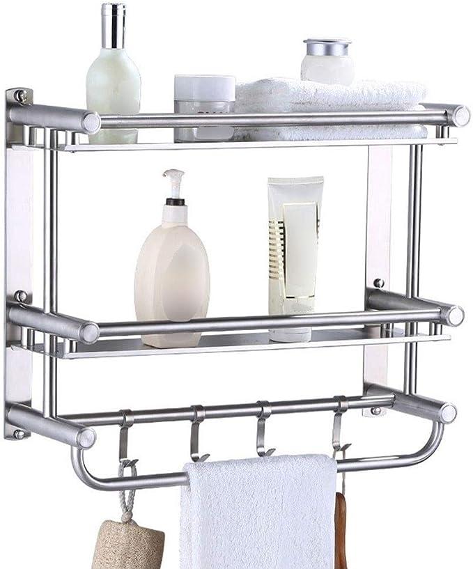 2pcs Wall Mount Storage Rack Caddy Basket Shelf for Kitchen Bathroom 11x40cm