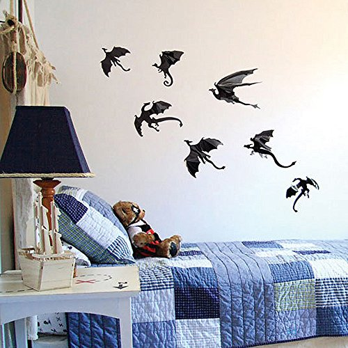 KpopBaby 7 Pcs Halloween Creative DIY Removable Wall Stickers Dragon Art Decal Liveing Room Bedroom Home (Dragon Wall Stickers)