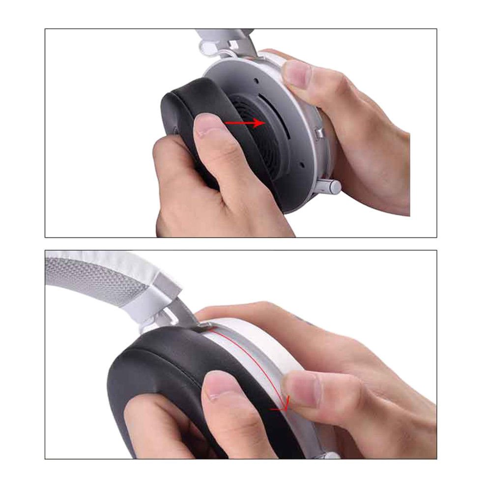 Almohadilla de Espuma Suave Cojines de Cuero 1 par Oval Negro Hzjundasi Reemplazo de Almohadillas para Razer Kraken Pro V2 Gaming Headset