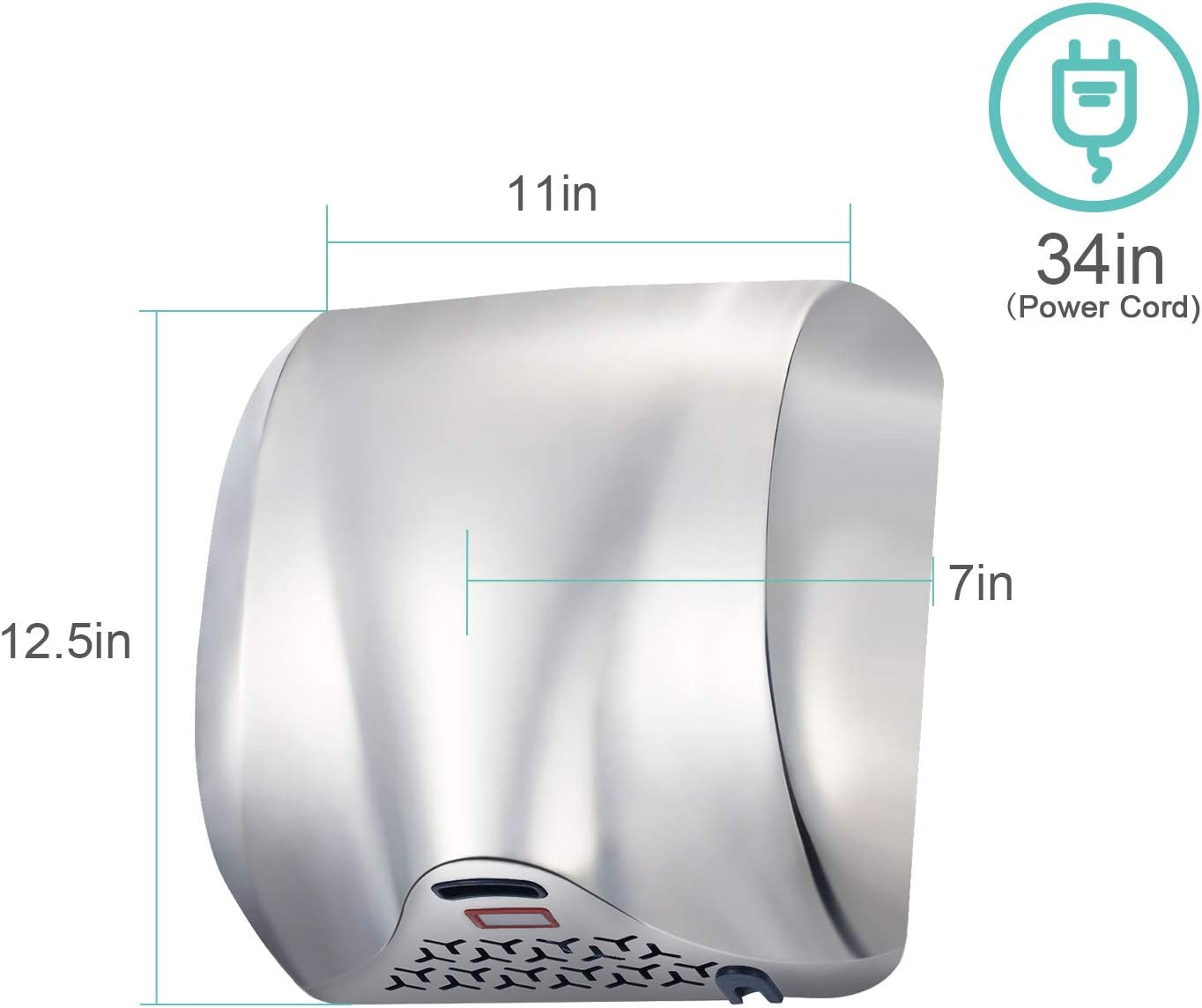 PENSON /& CO Instant Heat /& Dry K2017 Silver AHD-2017-01-K TCBunny Super Quiet Automatic Electric Hand Dryer Commercial High Speed 90m//s
