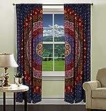indian room decor DIYANA IMPEX INDIAN MANDALA PRINT Kitchen Window Curtains Curtain & Valance Set Dorm Tapestry ,Indian Drape Balcony Room Decor Curtain Boho Set Hippie Curtain Panel