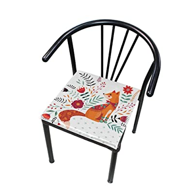"Bardic HNTGHX Outdoor/Indoor Chair Cushion Cute Fox Flower Square Memory Foam Seat Pads Cushion for Patio Dining, 16"" x 16"": Home & Kitchen"