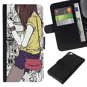 Planetar® Modelo colorido cuero carpeta tirón caso cubierta piel Holster Funda protección Para HTC Desire 820 ( Hipster Girl Bag Fashion Smoking Art )