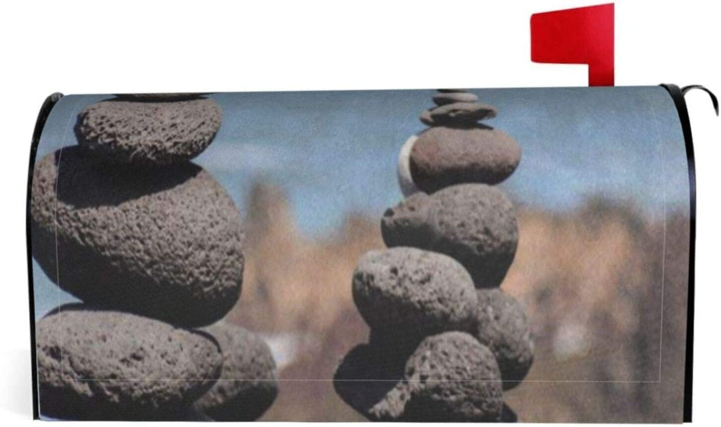 Sea Beach Zen Stone Mailbox Cover, Mailbox Covers Magnetic Mailbox Wraps, Post Letter Box Cover Standard Size 18