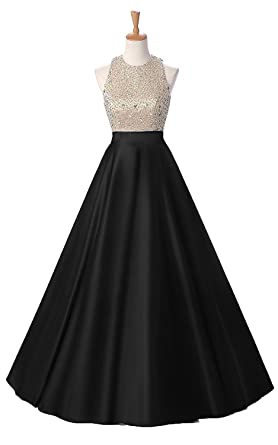 LiChengBridal Satin Halter Long Prom Homecoming Dress Backless Sequined Evening Ball Gown With Pockets Black US2