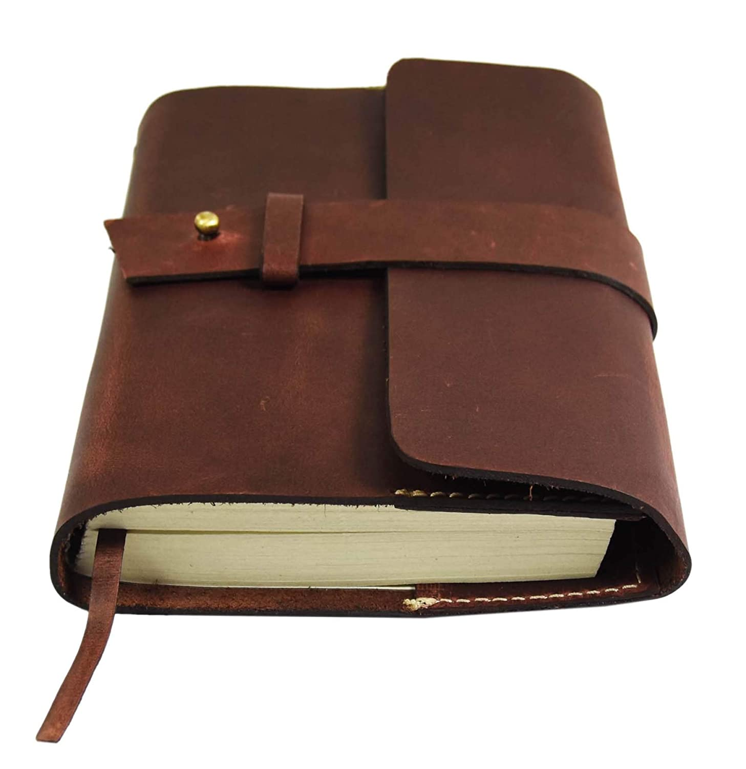 Leather Journal Refillable Writing Notebook-Traveler's Notebook by Aaron Leather Goods (Saddle)