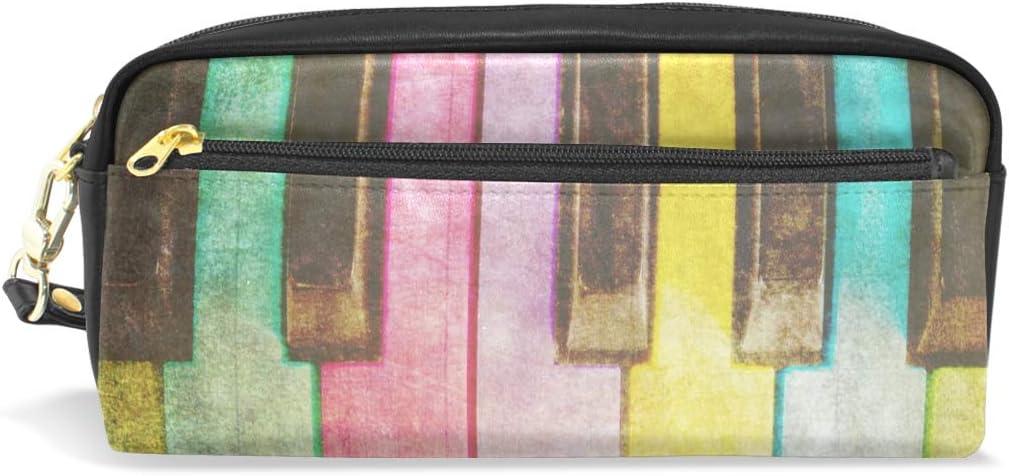 CPYang - Estuche de piel con cremallera para lápices, diseño de arcoíris: Amazon.es: Oficina y papelería