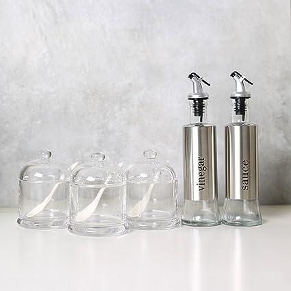 Cocina de cristal transparente condimento sal jarra,Botellas de vidrio Botellas de salsa de soya