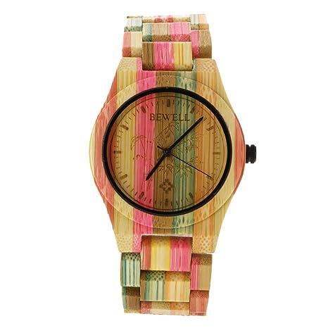 P Prettyia Mujeres Reloj De Madera Cara Redonda Iris Color Reloj De Pulsera Movimiento De Japón