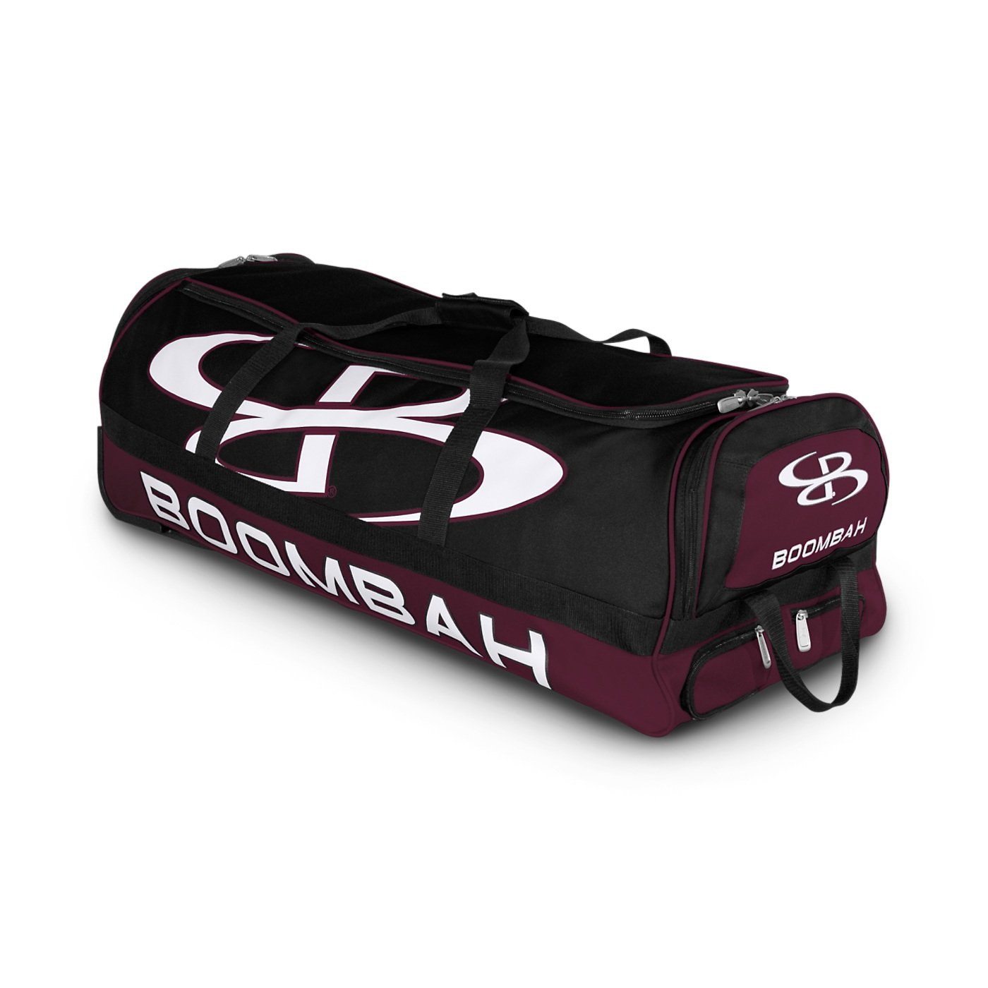 Boombah Brute Rolling Baseball/Softball Bat Bag - 35'' x 15'' x 12-1/2'' - Black/Maroon - Holds 4 Bats and Room for Gear - Wheeled Bag