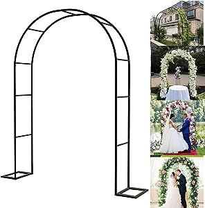 KXJ Heavy Duty Metal Pergola Arbor Arch, Outdoor Garden Lawn Backyard Patio, Wedding Bridal Party Elegant Decorations, Easy to Assemble 140cm230cm / Black