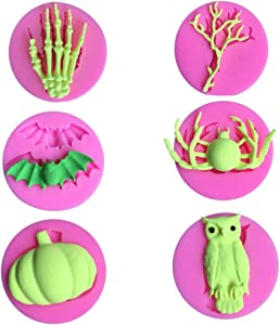 6Pcs Mini Halloween Silicone Fondant Molds Skeleton Skull Hand Spider Pumpkin Bat Owl Dead Tree Candy Sugar Craft Baking Tool Cake Decor DIY Maker Cupcake Topper Clay Soap
