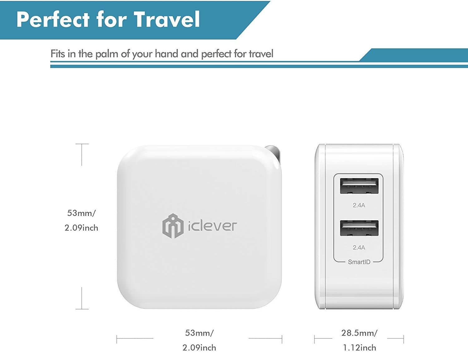 iPad Air 2//Pro//Mini 3 and More iClever 24W Dual USB Wall Charger with SmartID Technology 3ft MFI Certified Lightning to USB Cable for iPhone SE 2020 XS//XS Max//XR//X//8//7//6//6S//Plus//SE