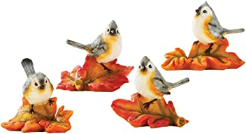 Collections Etc Festive Bird Sitters Set, Indoor Fall Tabletop Décor, Cute Hand-Painted Figurines, 4 Pc