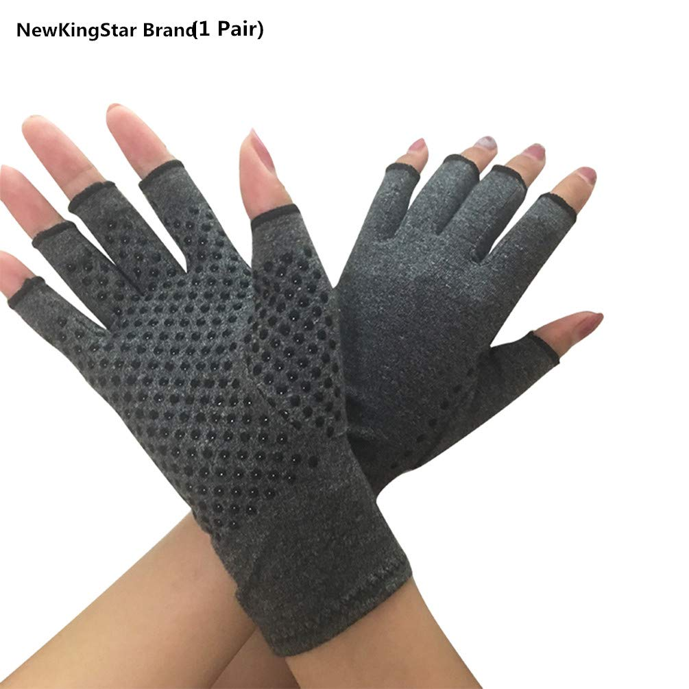NewKingStar Black Compression Gloves for Men Women Arthritis Pain Relief Gloves Compression Therapy Gloves, Half Finger Arthritis Gloves Relieve Arthritis Symptoms Compression Glove with Thumb Support