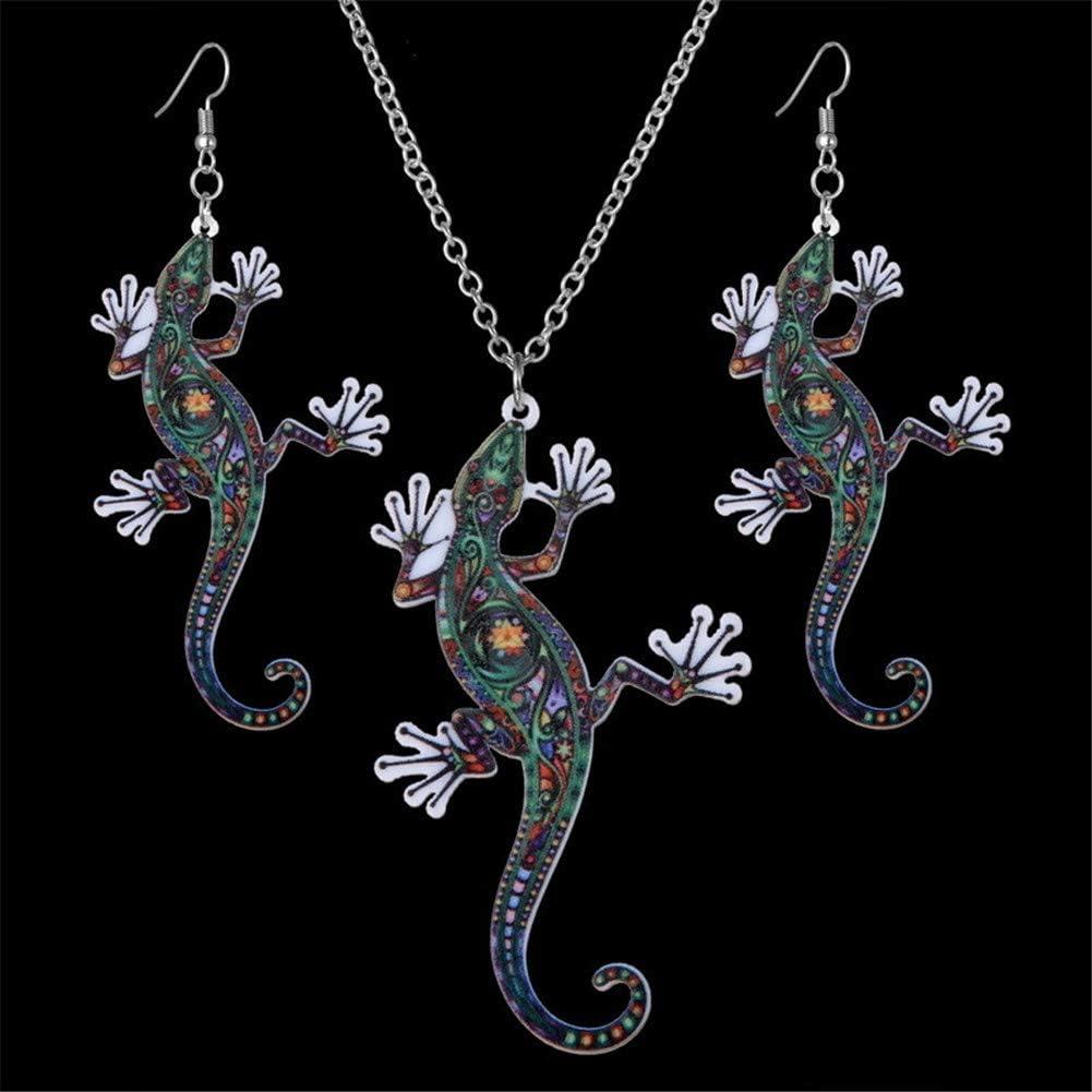 1 sets Lizard necklace and Lizard earrings Animal lovers jewelry gift idea