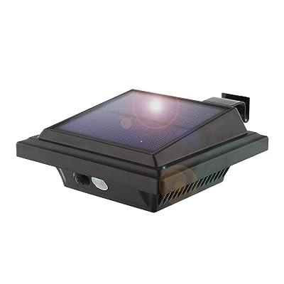 Solar Motion Sensor Lights Outdoor, 25 LEDs Solar Gutter Lights, 2W, PIR-Sensor, No Dim Model, Wireless Security Night Lights for Garden, Black, Warm White Light(1 Pack)