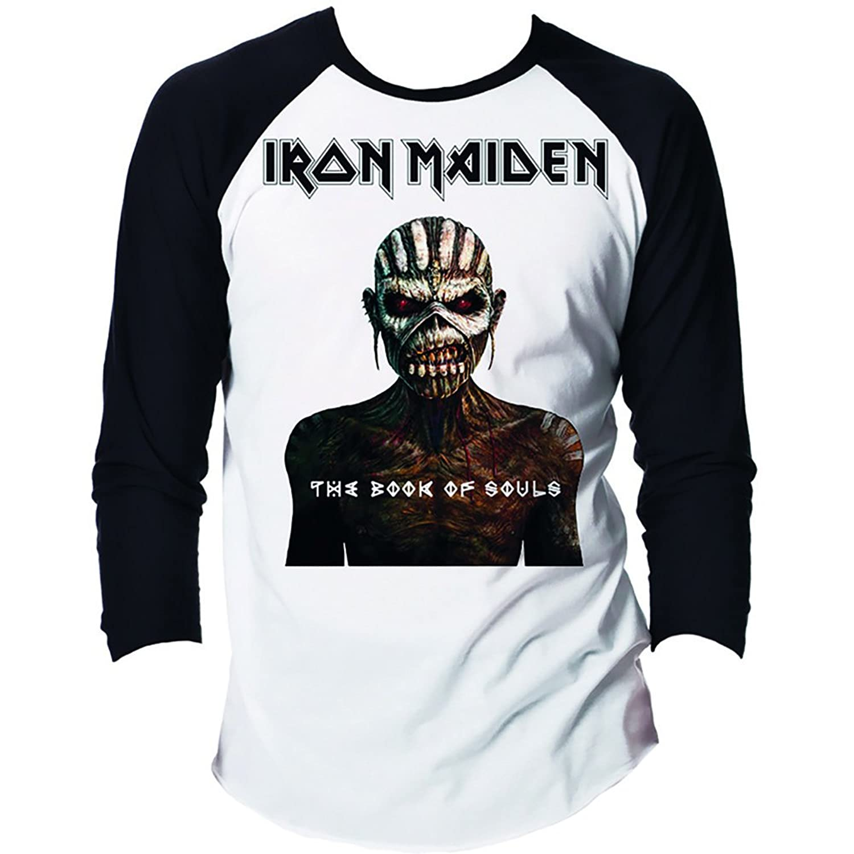 Iron Maiden Men 's Book of Souls Baseball Jerseyブラック/ホワイト B0178ITJD0 3L