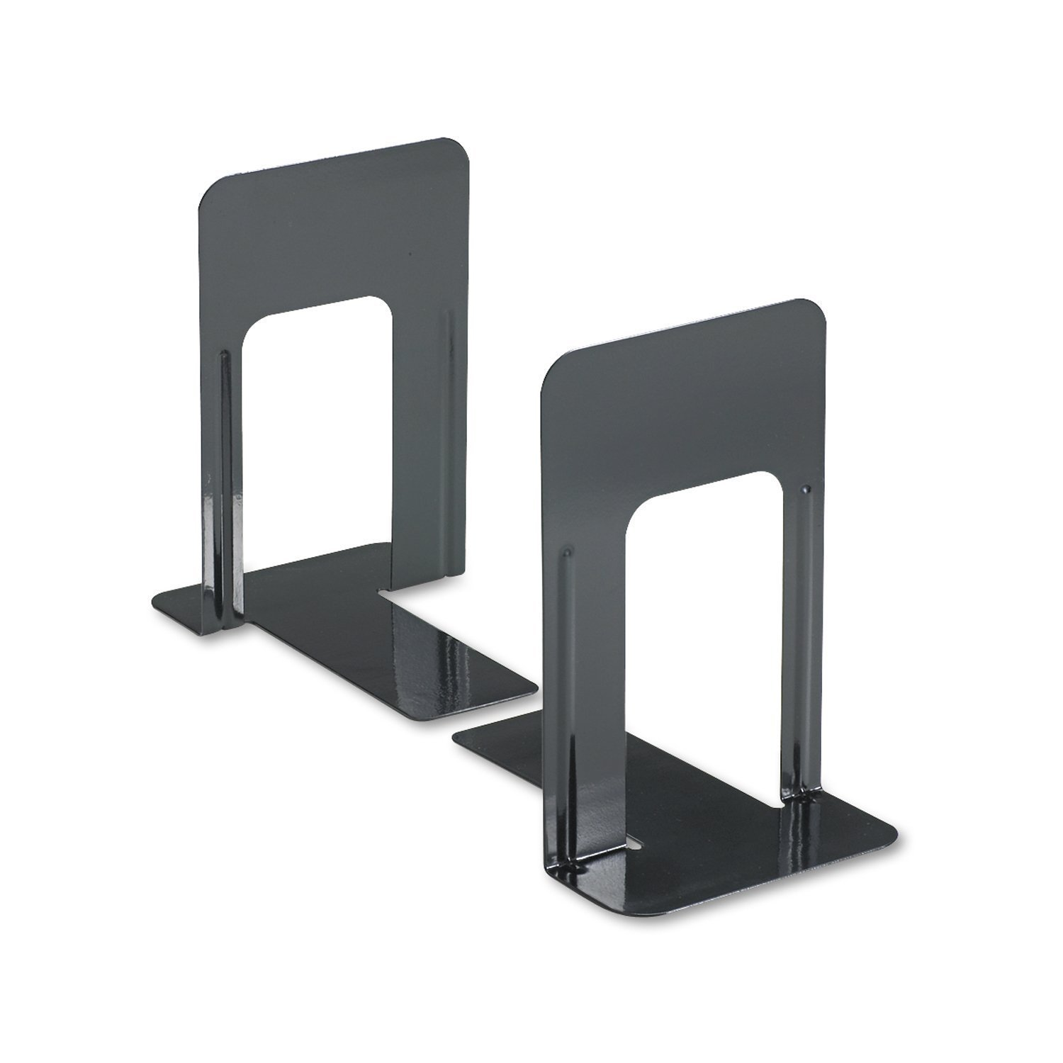 Jumbo Deluxe Heavy Gauge Steel Bookends with Nonskid Padded Base, 5-7/8 x 8-1/4 x 9 inch, Metal, Black, 2 Pairs (Total of 4 Each)