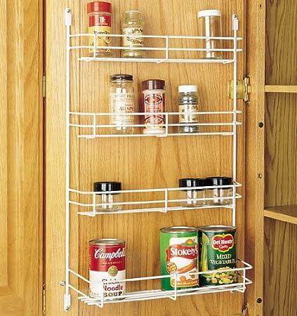 cabinet door spice rack CabiDoor Spice Racks Metal Spice Racks, White Wire Finish 13 5  cabinet door spice rack