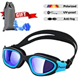 Focevi Swimming Goggles for Men/Women, Polarized Anti-Glare Anti-Fog UV Protection Mirrored Wide Vision Adult Swim Goggles, Boys/Girls/Junior/Teenagers/Youth Swim Googles, Swimming Glasses and Gear