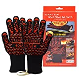Yummy Sam BBQ Grilling Cooking Gloves, 1 Pair Heat Resistant Insulated Oven Mitts BBQ Gloves BBQ Accessories 932°F Kitchen Safety Flame Resistant For Cooking Baking Grilling Fireplace Barbecue Party