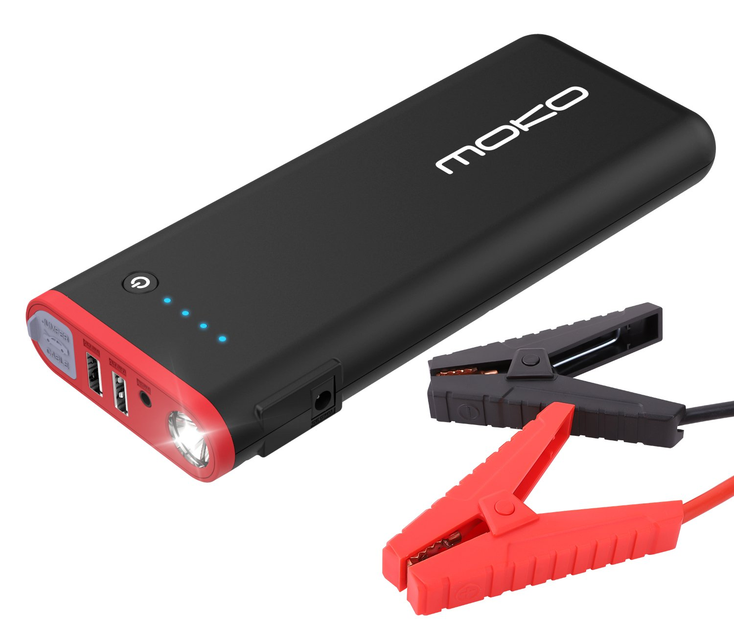 MoKo 1000A Peak Car Jump Starter, 19800mAh 12V Auto Emergency Booster (8L Gas and 5L Diesel Engine), Portable Power Bank External Battery Pack with 2 USB Ports and LED Flashlight - Black & Red