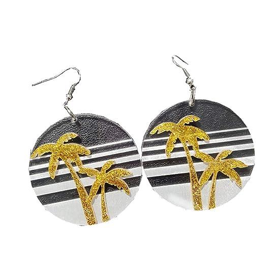Moda Exagerada Coconut Tree Earrings Pendientes Bohemian Beach Ears Mujeres