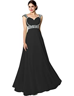 Sarahbridal Women Long Prom Dresses Elegant Capped Sleeve Evening Gown Party Bridesmaid Dress UK for Wedding