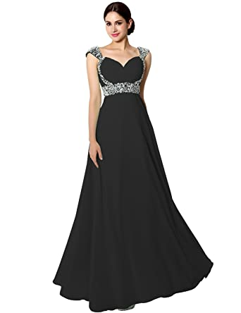 Sarahbridal Womens Long Chiffon Prom Dress Evening Gown 2018 with Beading Black US2