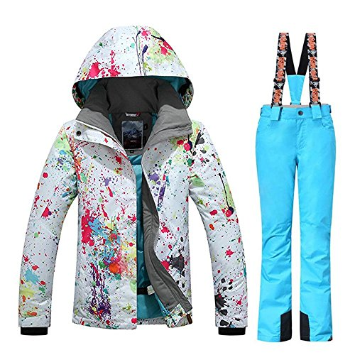 315c7bec72 RIUIYELE Women s Fashion High Windproof Waterproof Snowsuit Colorful  Printed Ski Jacket Pants