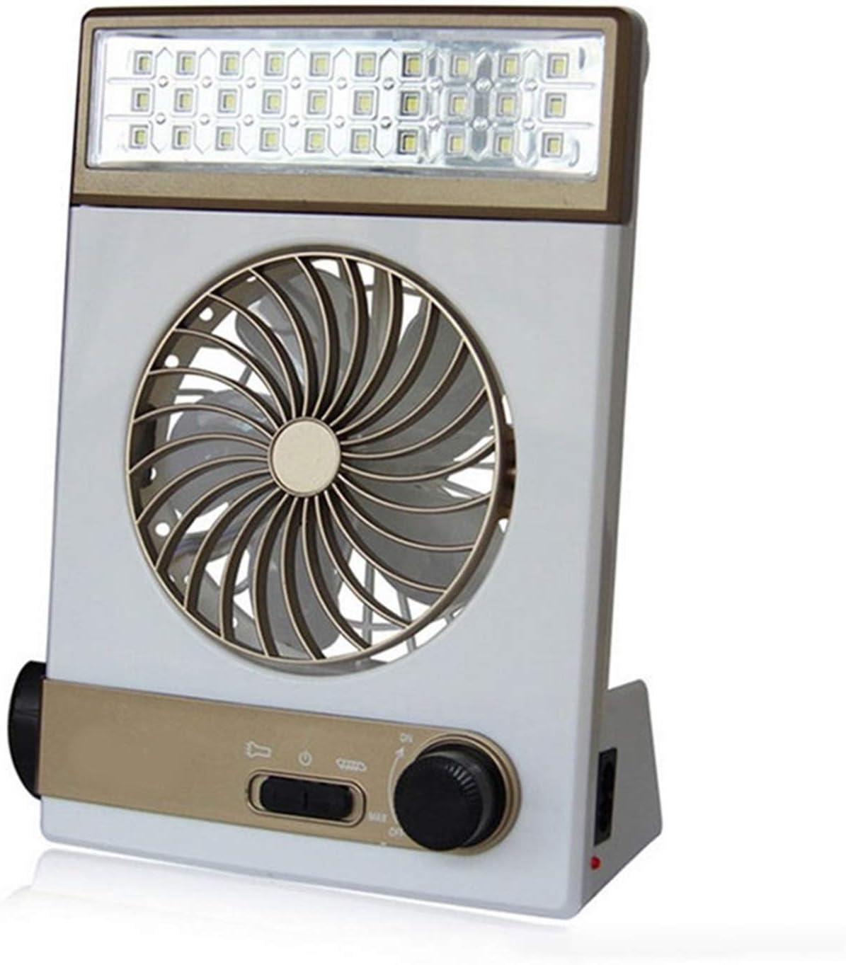 H.Y.BBYH Mini Ventilador Carga Multifuncional Ventilador portátil Luz de Camping Solar Lámpara LED Linterna USB Campamento al Aire Libre Ventilador de Viaje Ligero (Color : Brown)