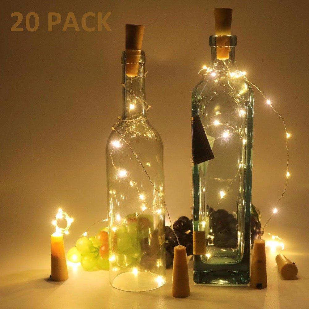 10 Stück Flaschenlicht Weinflaschen Lichter Kork Weihnachten Flasche Dekoration 200cm 20LEDs Lichterkette DIY Batteriebetrieben Stimmungslichter für Weihnachtsdeko Garten Party Schlafzimmer Tischdeko hootecheu