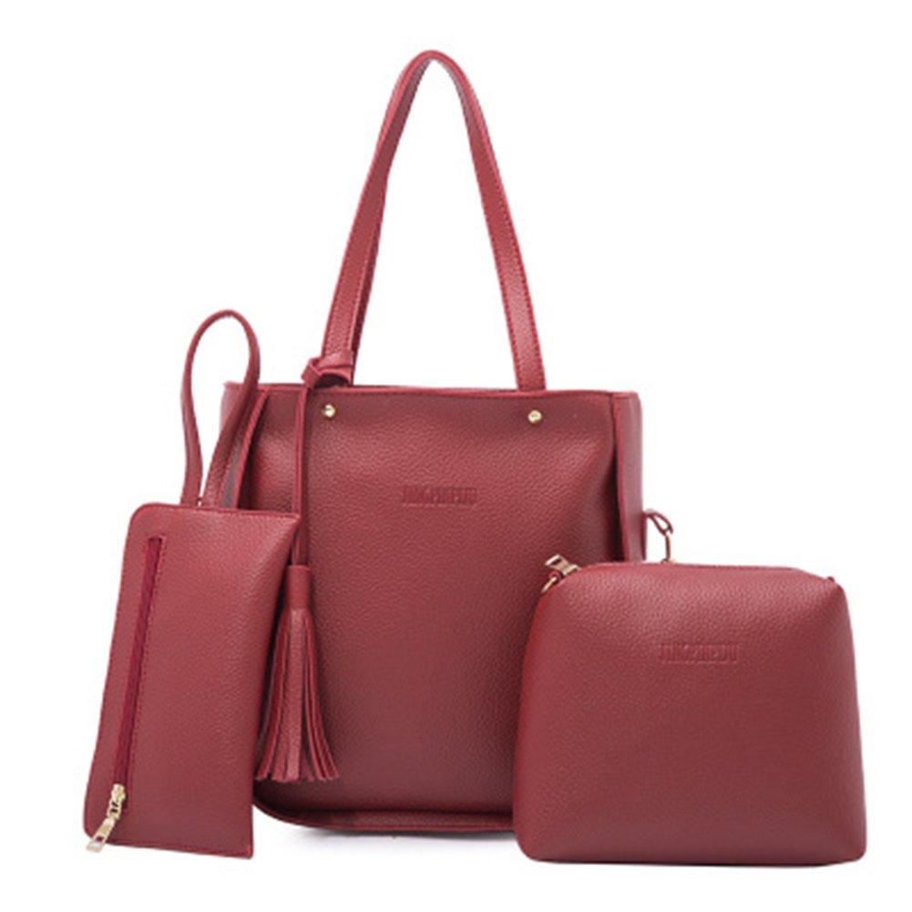 super1798 3Pcs Fashion Women Tassels Wallet Card Holder Handbag Crossbody Bag Set (Red)