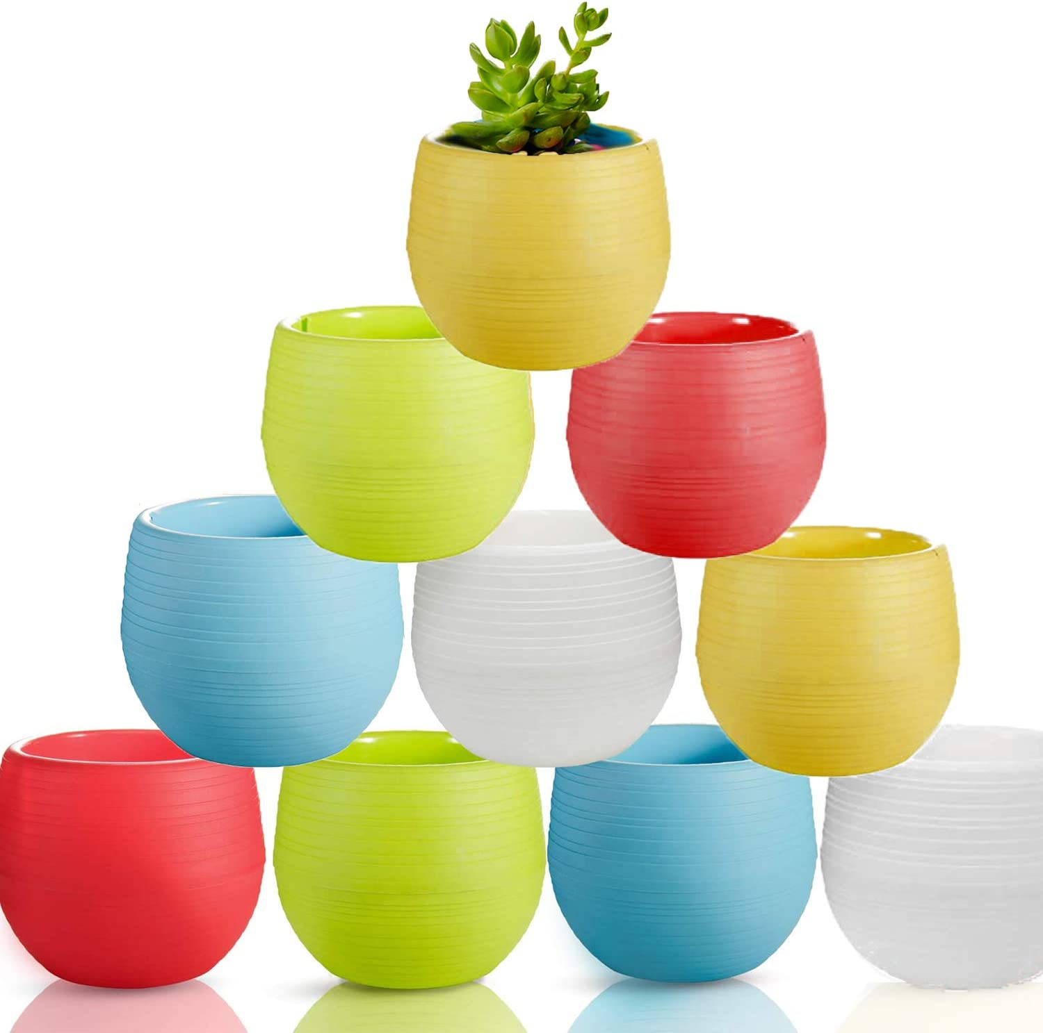 10 Pack Plant Pots with Drainage Indoor Outdoor, 2.7 Inch Plastic Succulents Pots Cute Egg Shaped Pots for Flowers,Cactus, Succulent,Seed Starting,Herbs, Decor Home Garden Office,5 Colorful