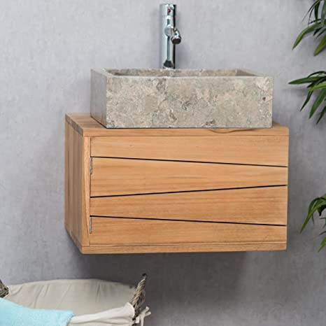 wanda collection Mueble para Cuarto de baño suspendido de Teca Cosy 50 cm