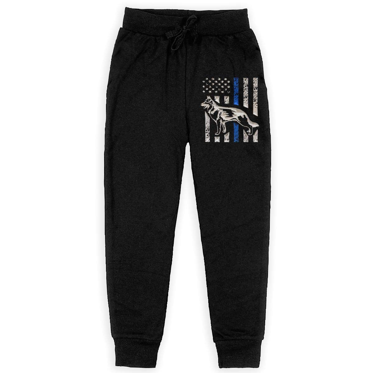 Boys Sweatpants Blue Lives Matter Thin Line Dog Joggers Sport Training Pants Trousers Black