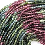 "2mm multicolor tourmaline round beads 13.5"" strand"