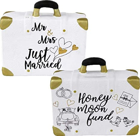 Home Collection - Hucha para Boda, Maleta, Luna de Miel, Mr & Mrs Just Married Honey Moon Fund 14,8 x 6 x 13 cm