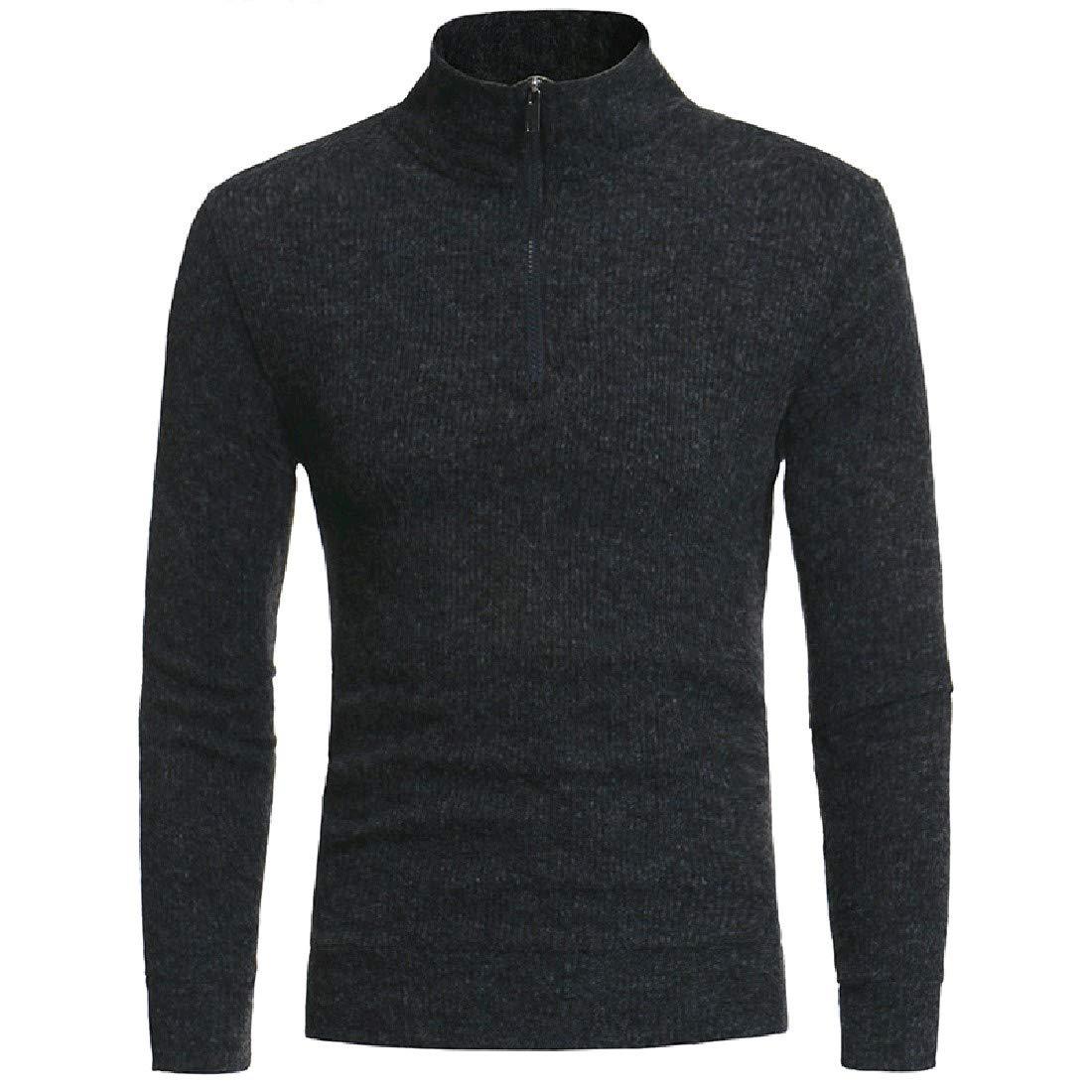 Coolred-Men Oversize Warm Semi-high Collar Knitting Top Tee Sweater